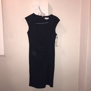 Calvin Klein Navy Dress with side ruching